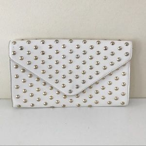 Winter White Studded Clutch